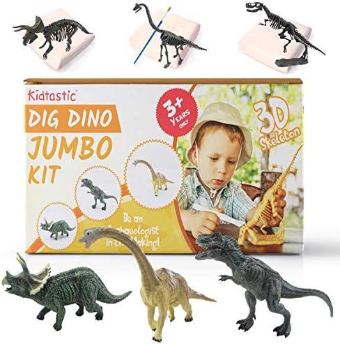Kidtastic Dig Dinosaur Excavation Kit Large 6 Dinosaur Figures and Model Skeletons (11 PCS) T-Rex Triceratops & Brachiosaurus Skeletons Excavation STEM Set Archaeology Toy for Kids Ages 3 and Up