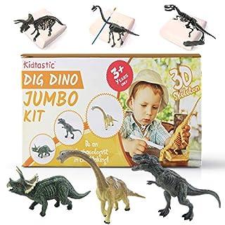 "Kidtastic Dig Dinosaur Excavation Kit Large 6"" Dinosaur Figures and Model Skeletons, (11 PCS), T-Rex, Triceratops & Brachiosaurus Skeletons Excavation STEM Set, Archaeology Toy for Kids Ages 3 and Up"