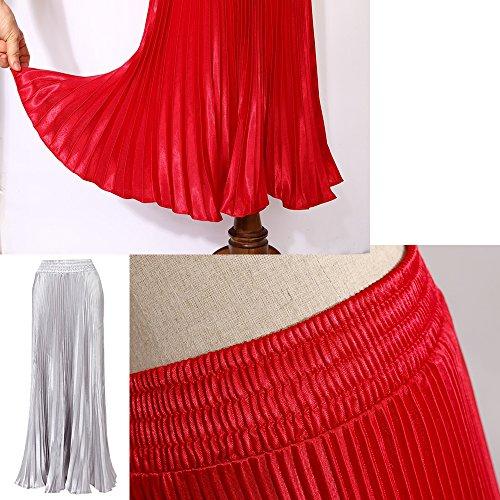 Plissee Taille De Robe Jupe Femme des Haute Longue KINDOYO Mousseline Soie Argent WnS7wF