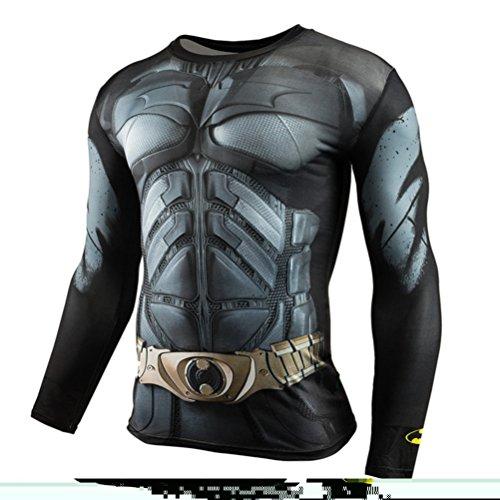(Men's Slim Compression Shirt,Bat Men Running Sport Crewneck Tee Long Sleeve)