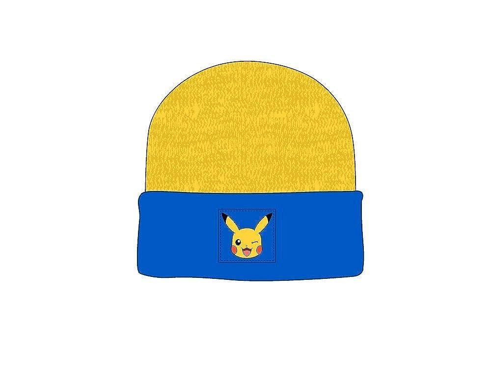 Pokemon - Pikachu Beanie Winter Woven Hat - Acrylic - Yellow & Blue - One Size