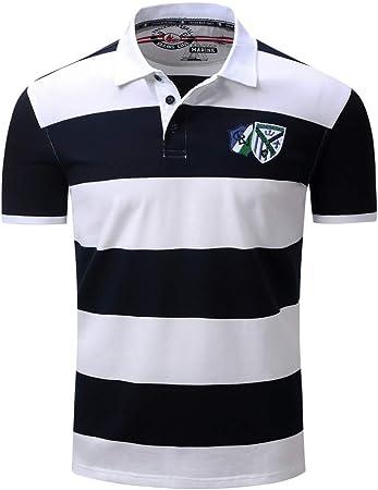 Susulv Manga Corta Camisa de Solapa a Rayas con Camisa Polo de Hombre Europeo y Americano de Primavera y Verano Playera Playera (Color : Negro, tamaño : Metro): Amazon.es: Hogar
