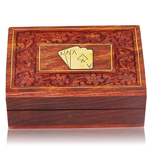(Unique Birthday Gift Ideas Handcrafted Classic Wooden Playing Card Holder Deck Box Storage Case Organizer With A Set of Premium Quality 'Ace' Playing Cards Anniversary Housewarming Gifts For Him Her)