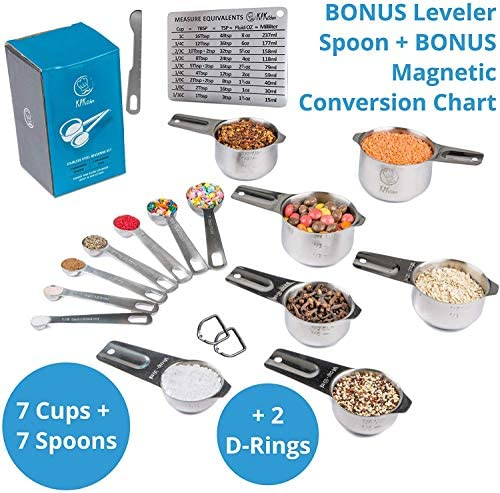 Stainless Steel Measuring Cups and Spoons Set: 7 Cup and 7 Spoon Metal Measure Sets of 14 Piece for Dry & Liquid Measurement - Kitchen Gadgets & Utensils for Cooking Food & Baking - Best for Nesting 3
