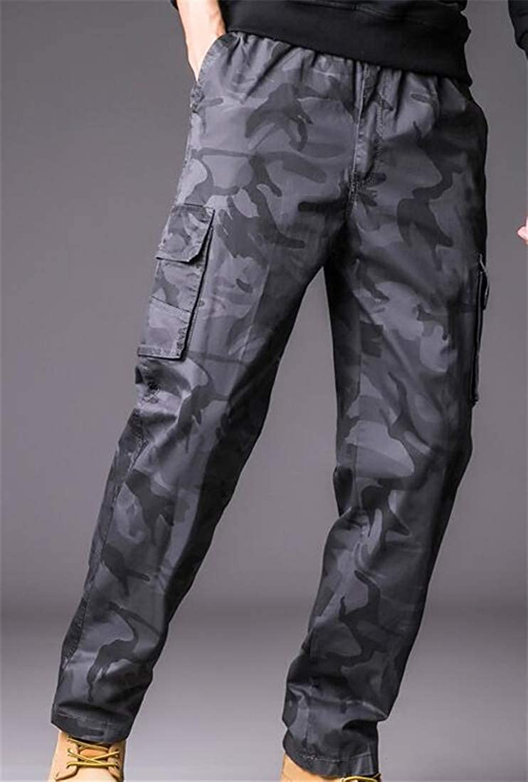 Sweatwater Mens Casual Multiple Pockets Straight Camouflage Plus Size Pants