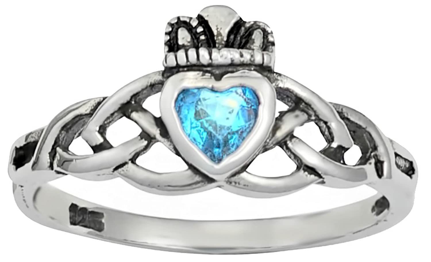 .925 Sterling Silver Traditional Celtic Knot .25 cttw Aqua CZ Simulated Diamond Claddagh Ring