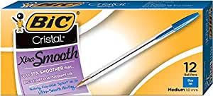 BIC Cristal Xtra Smooth Ball Pen, Medium Point (1.0 mm), Blue, 12-Count