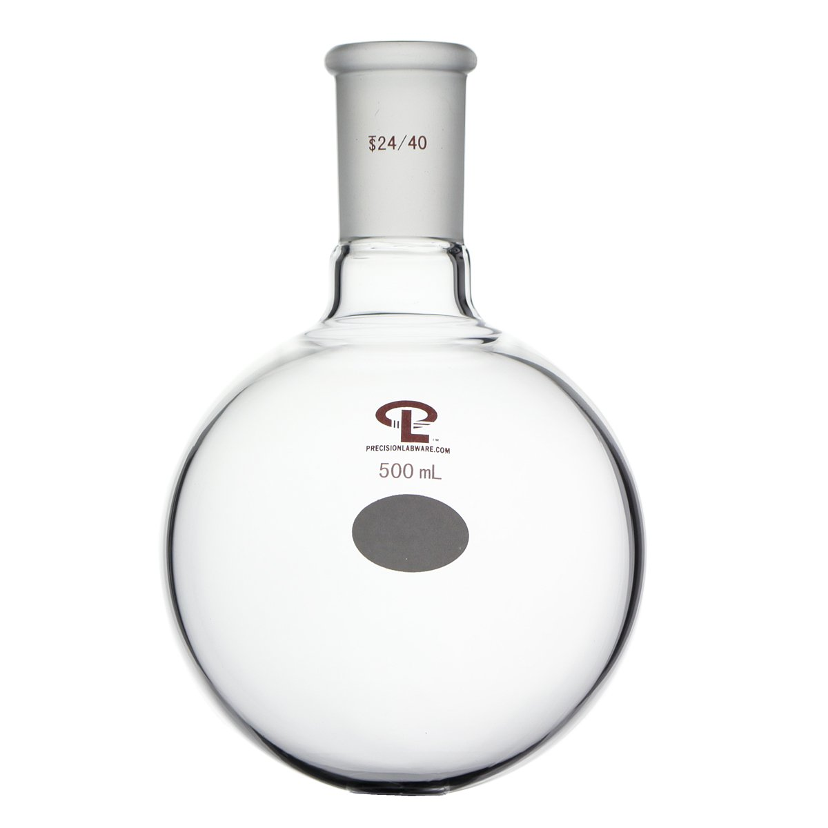 Precision 500mL 24/40 Single Neck Round Bottom Flask, Heavy Wall, Borosilicate Glass