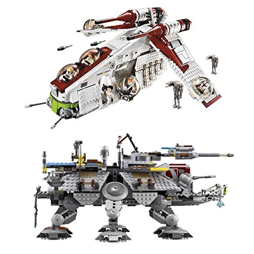 Republic Gunship and Captain Rex AT-TE Building Blocks Kits | Compatible with LEGO | Star Wars Minifigures Included