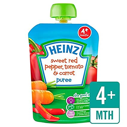 Heinz suave dulce pimiento rojo, tomate y zanahoria 4 mess + 100g