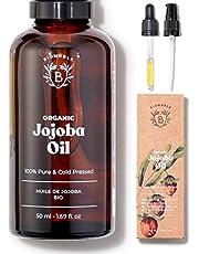 EKOLOGISK JOJOBAOLJA | 100% Ren, Naturlig & Kallpressad | Ansikte, Kropp, Hår, Skägg, Naglar | Vegan & Cruelty Free | Jojoba Oil | Glasflaska + Pipett + Pump (50ml)