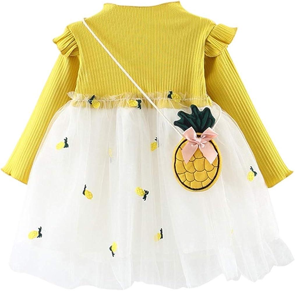 Primavera Verano Infantil Vestido de niña Bebé Algodón Niña pequeña Vestidos de Fiesta de Hilo de piña con una Bolsa pequeña: Amazon.es: Ropa y accesorios