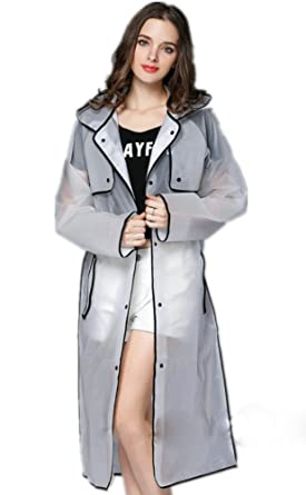 official photos good looking ever popular Ouvin Women's Transparent Frosted Hooded Long Raincoat