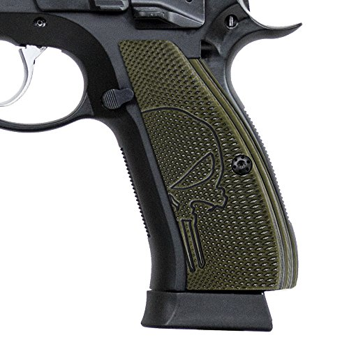 Cool Hand G10 Grips for CZ 75 85 SP-01 Shadow, Full Size, Free Screws Included, Punisher Skull Texture, Brand, OD Green/Black G10, SP1-PNP-21