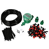 Zerodis Drip Irrigation Kit with Timer,20M Distribution Tubing+30Pcs Drip Emitter with T Joint Stakes Faucet Connector,Auto Timer Plant Self Watering Automatic Drip Irrigation Kits