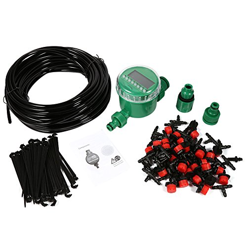 Micro Drip Irrigation System with Hose Timer Dripper Sprinkler Plant Watering Irrigation Pipe Irrigation Spray for Flower Lawn Patio Garden Greenhouse Plants by Fdit