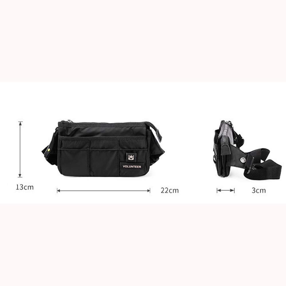 HgzBxL Mens Pockets Oxford Cloth Bag Mens Wild Shoulder Messenger Bag Cashier Bag Multifunctional Pocket Easily Adjustable Color : Black