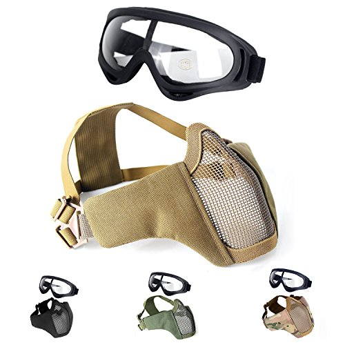 Unigear Airsoft Half Face Masks Steel Mesh Mask with Goggles Set for Hunting, Paintball, Shooting ()