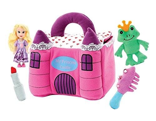 Frog Plush Doll - Plush Princess Castle With Poseable Princess doll and Sound Making Plush Frog Plush Lipstick, Plush Brush