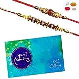 Maalpani Rakhi Chocolate Hamper - Pair of Two Gold n Daimond Rudraksh n Fancy Bead Rakhi - Cadbury Celebration Pack 205