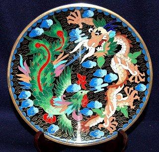 "8"" Chinese Black Dragon & Phoenix Exquisite Cloisonne Plate"