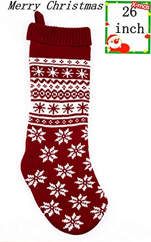 E.SEVEN Christmas Stockings Red and Cream Knitted Stockings Big Christmas Stockings ()