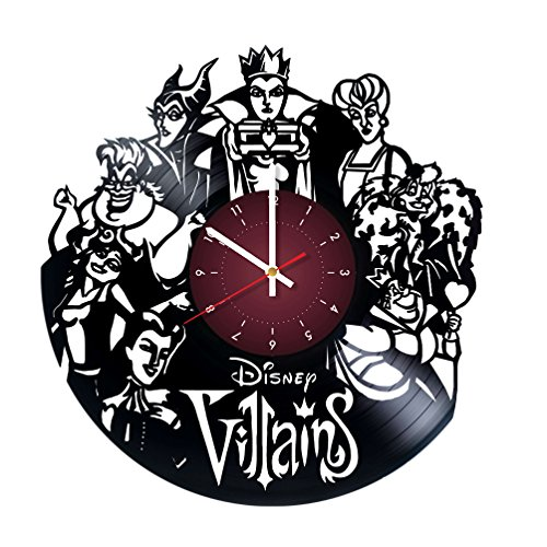 The Walt Disney VILLAINS Vinyl Record Wall Clock - Kids Room wall decor - Gift ideas for children, baby, brother and sister , him and -