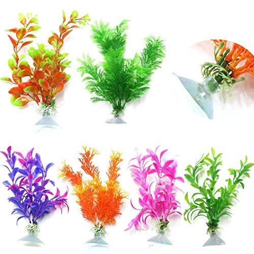 CNZ Assorted Color Aquarium Plastic Plant Decoration (6pcs with suction cup)
