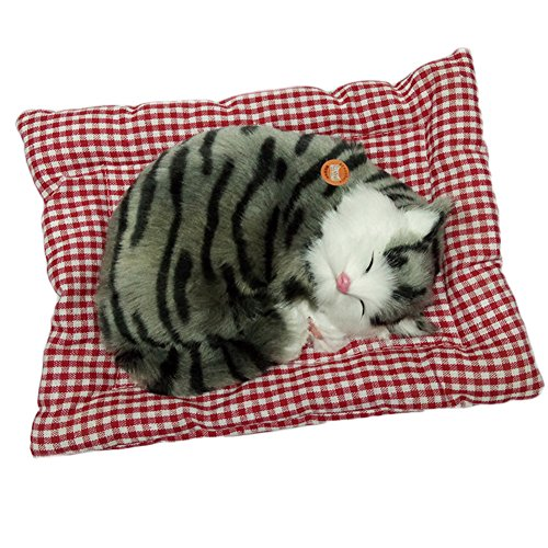 (Per Lifelike Sleeping Cat Animated Plush Realistic Kitten with Seat Cushion and Mew Sound Bedroom Decor Toys for Kids Boys Girls-A )