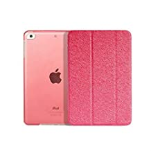 Mingus Ultra Slim 3-Fold Smart Case Cover Shell for iPad mini 1/mini 2, Silk Pattern Leather Case Folio Smart Cover for iPad mini 1/mini 2 + Screen Protector + Stylus Pen - Red