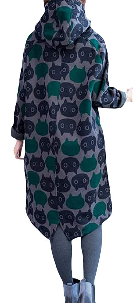 Lutratocro Womens Fleece Floral Print Loose Oversize Pocket Midi Pullover Hooded Sweatshirts