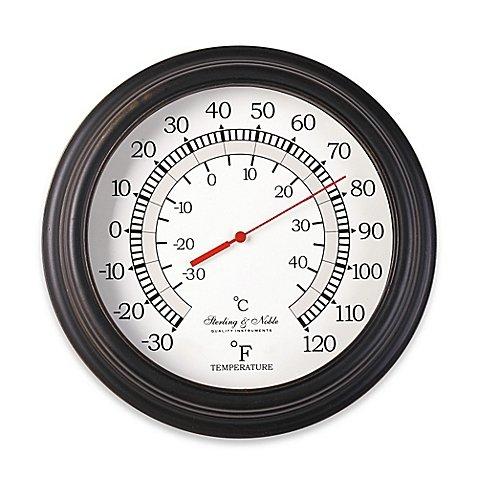 10-Inch Round Indoor/Outdoor Thermometer in Bronze (Table Bronze Billiard)