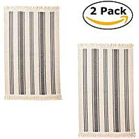 IKEA Flatwoven Cotton Area Rug Color Stripes, Machine Washable Kitchen Door Mat Runner (2, Gray Stripe)