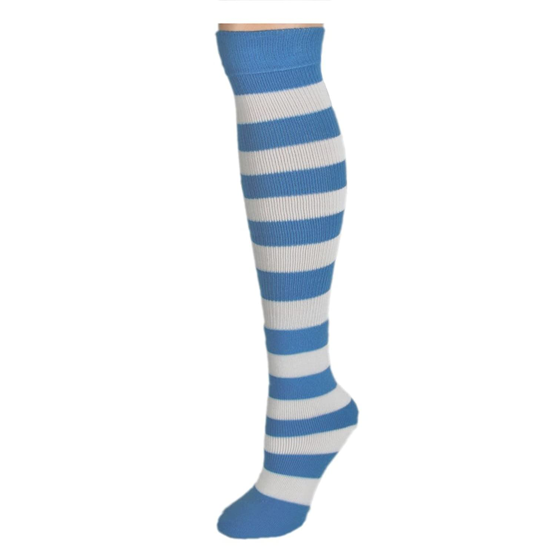 Amazon Knee High Striped Socks Baby Blue White Clothing