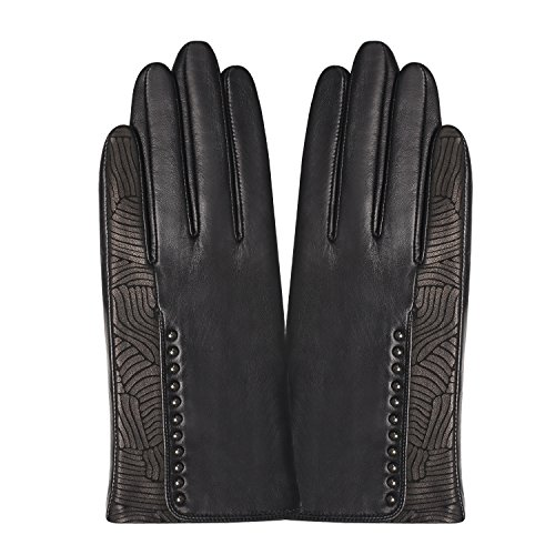 GSG Womens Stylish Whirlpool Patterns + Trendy Studs Black Leather Gloves Ladies Touchscreen Driving Gloves Warm Winter Nice Gifts 7.5 by GSG (Image #3)