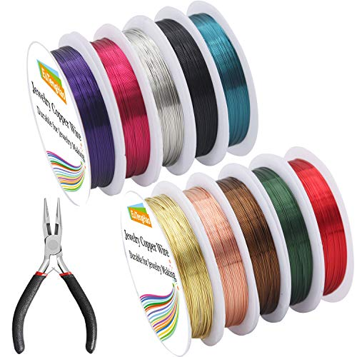 EuTengHao 10 Pack Jewelry Copper Craft Wire Jewelry Beading Wire for Bracelet Necklaces Jewelry Making Supplies (10 Colors,26 Gauge)