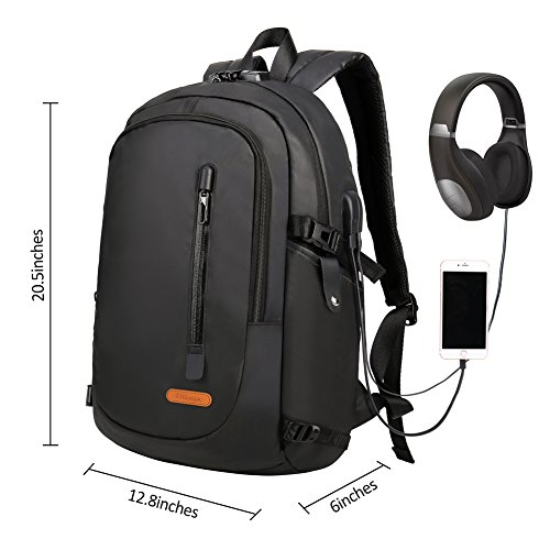 Discount 15.6 Inches Laptop Backpack with Anti-Theft Lock- Waterproof Lightweight College School Student / Travel / Business Work Computer Backpack with USB Charging Port and Headphone Interface (Black)
