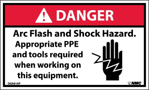 "NMC DGA61AP Arc Flash Labels with Graphic, ""DANGER Arc Flash And Shock Hazard Appropriate PPE..."", 5"" Width x 3"" Height, Pressure Sensitive Vinyl, Red/Black on White (Pack of 5)"