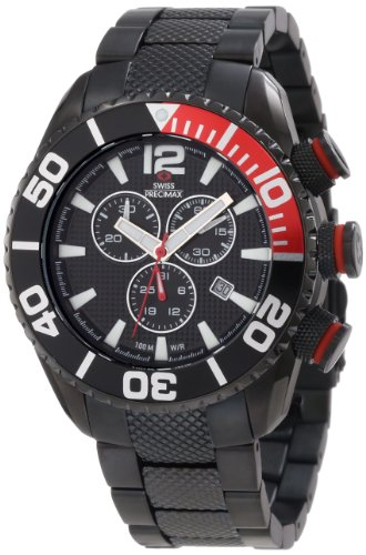 Swiss Precimax Men's SP12164 Deep Blue Pro II Black Dial with Black Stainless Steel Band Watch