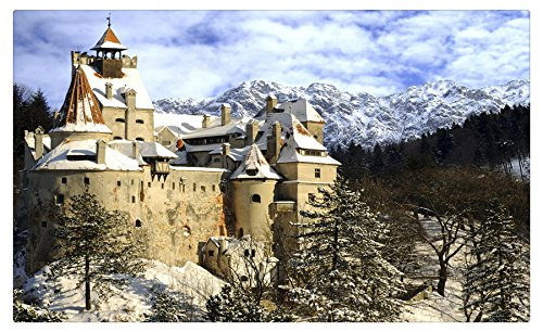 Romania Castles Mountains Winter Snow Fir Bran Castle Transylvania Cities travel sites Postcard Post card