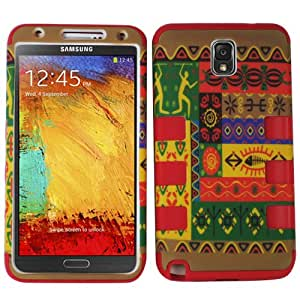 Red Chevron Aztec Tribal HyBrid Rubber Soft Skin Hard Case Cover For Samsung Galaxy Note III 3 with Free Pouch