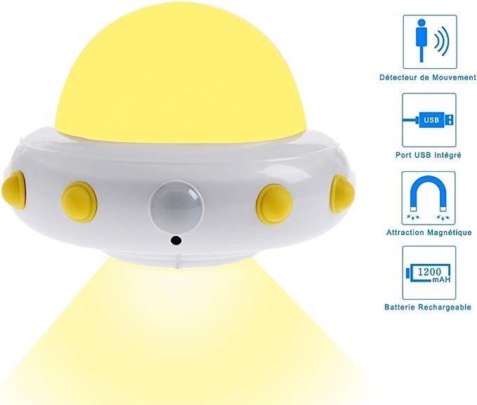 Luz Nocturna Sensor Movimiento OVNI,Cobiz Luz Activo Luz para Niños con Auto Encendido/Apagado para Dormitorio Pasillo Baño Habitación de Bebé Cocina Garaje Armario, Pasillos Escaleras: Amazon.es: Iluminación