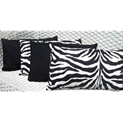 Set of 4 Indoor / Outdoor Decorative Lumbar / Rectangle Pillows - 2 Black and White Zebra Animal Print & Solid Black