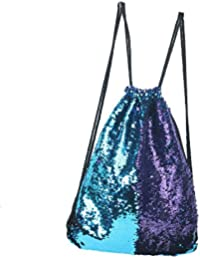 Mermaid Sequin Drawstring Backpack Glittering Outdoor Shoulder Bag, Winmany Magic Reversible Glitter Drawstring Backpack , Fashion Bling Shining Bag, Sports Backpack Bag