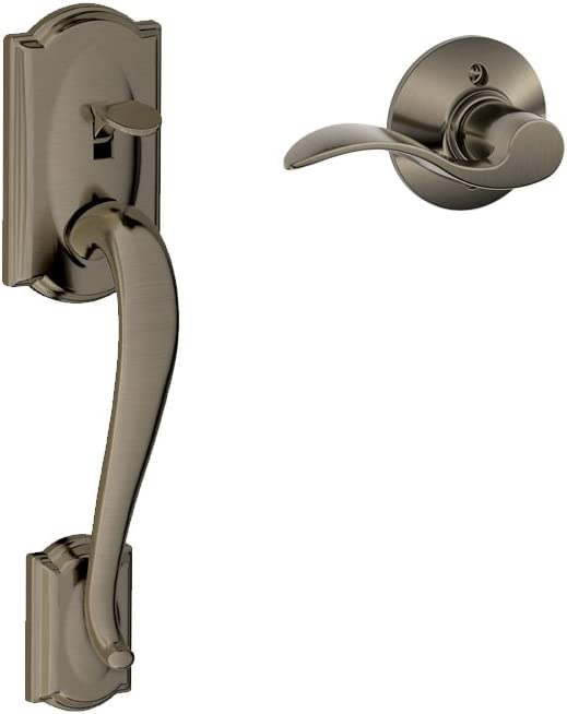 Schlage FE285CAM620ACCRH Antique Pewter Camelot Lower Handleset for Electronic Keypad with Accent Interior Right Handed Lever