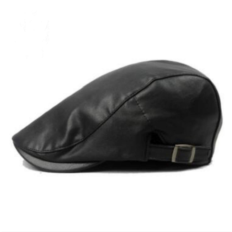MEIZOKEN Newsboy Cap Women Men Plain PU Beret hat Artificial Leather Unisex Flat Visor Adjustable Autumn Winter