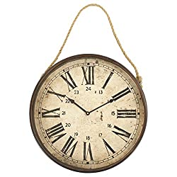 Kathy Kuo Home Henri French Country Rope Hanging Antique Clock