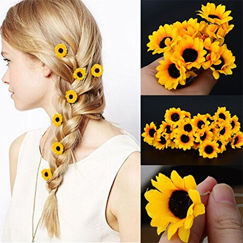 Polytree 10Pcs Daisy Sunflower Bridal Wedding Hair Pins Hair Clips