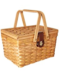Vintiquewise(TM) QI003081 Gingham Lined Picnic Basket with Fo...