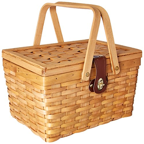 Vintiquewise TM QI003081 Gingham Lined Picnic Basket with Folding Handles - Lunch Basket